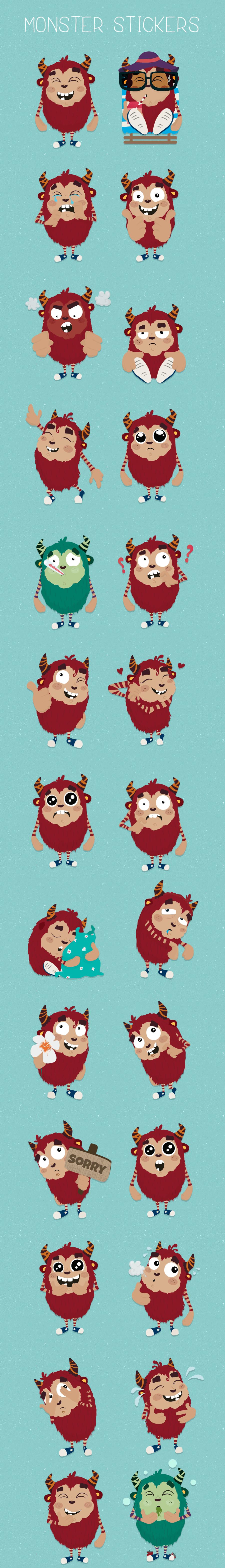 Monsters emotions facebook messenger stickers